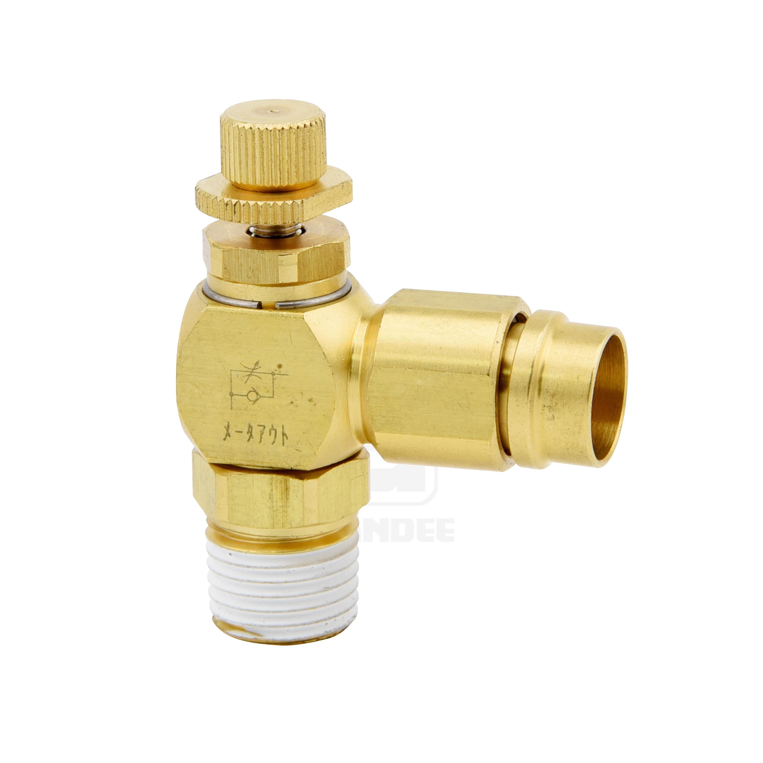 ข้อต่อฟิตติ้งปรับความเร็วลมทองเหลือง (C-ring+Cover) Touch connector fuji h type