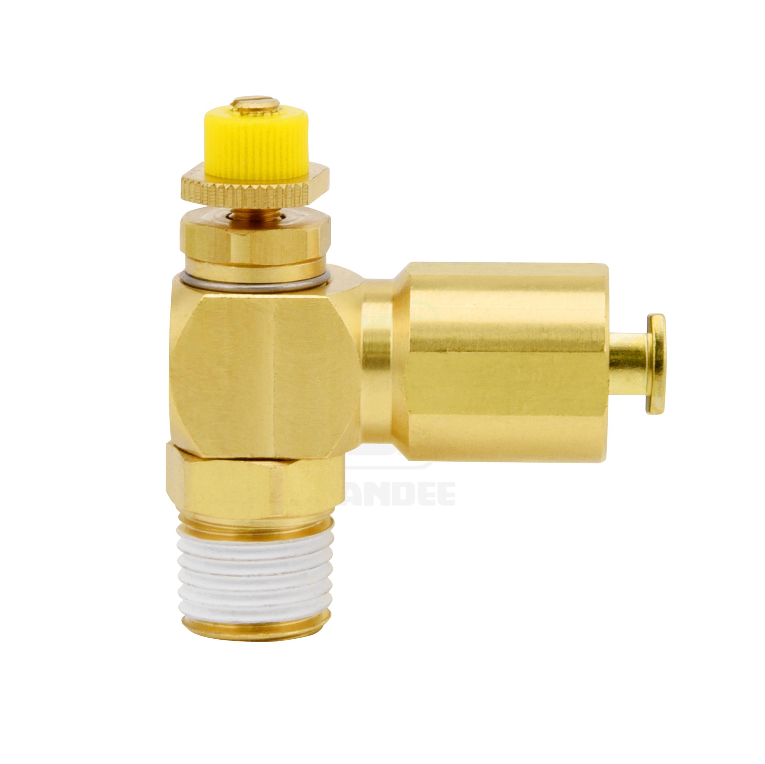 ข้อต่อฟิตติ้งปรับความเร็วลมทองเหลือง (Spring lock) Touch connector